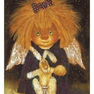 """Картина на холсте """"Ангел с зайкой"""""""