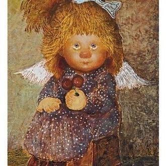 """Картина на холсте """"Ангел с вишенками"""""""