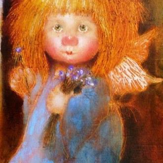 "Картина на холсте ""Ангел с синим букетом"" (20х26 см.)"