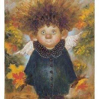 """Картина на холсте """"Ангел - золотая осень, золотой характер.."""""""