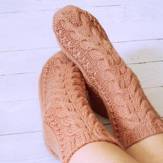 Вязаные носки C косами (из мягкой шерстяной пряжи)