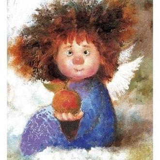 """Картина на холсте """"Ангел с красным яблоком"""" (20х26 см.)"""