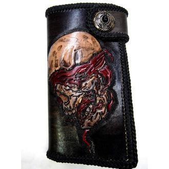 Кожаный кошелек Череп в повязке, черный кошелек,черный тревел кейс, мужское портмоне