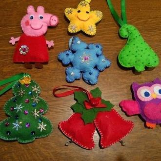 Новогодние игрушки из фетра . Игрушки на елку.