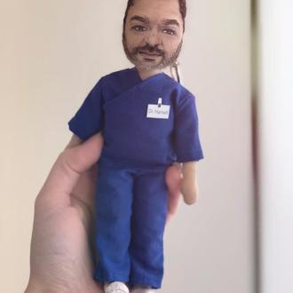 Текстильная мини - кукла с портретным сходством ( брелок)