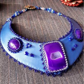 Колье Сине - фиолетовое