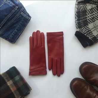 Персонализированные женские кожаные перчатки на кашемировой подкладке
