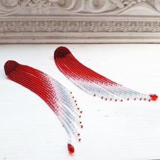 Червоні сережки-китиці, красные серьги-кисти, красно-серебристые бисерные серьги