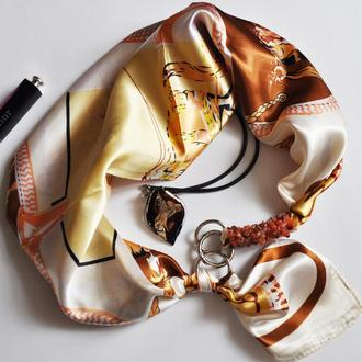 """""""Горная нимфа"""" атласный шарф, атласный платок, шелковый шарф, шарф-ожерелье"""