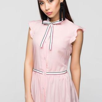 Нежно-розовая блуза с рукавом-крылышком