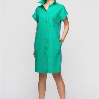 Платье-рубашка из льна зеленого цвета со съемным поясом