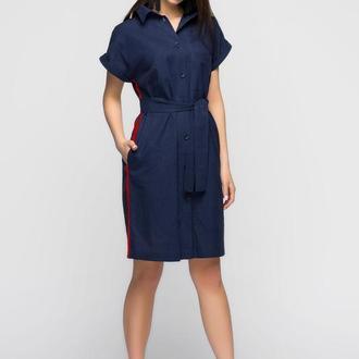 Синее льняное платье с лампасом
