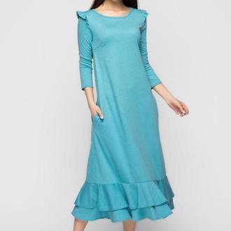 Платье с воланами мятного цвета