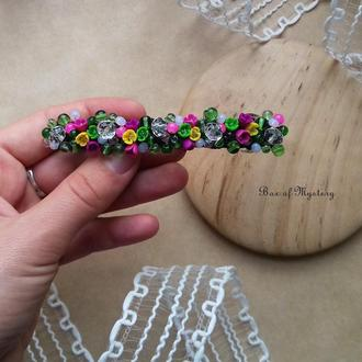 Яркая заколка для волос с миниатюрными цветами, аксессуар для волос, основа 10 см