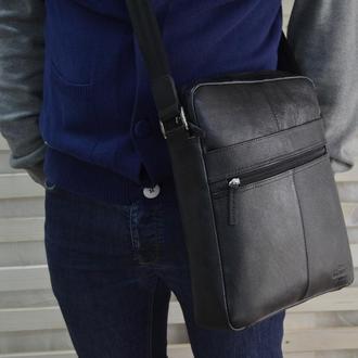 Кожаная мужская сумка через плечо(под бумаги А4)