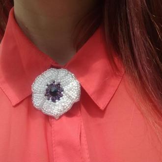 Брошь-цветок анемона