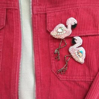 Парная брошь Фламинго