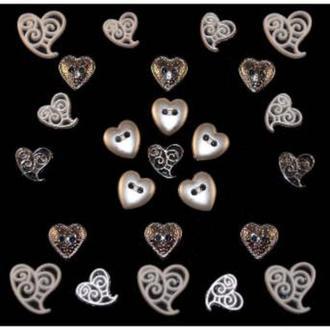 Декоративные пуговицы.Сердца.(бел/серебро)