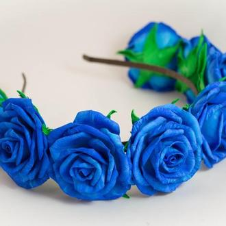 Веночек из синих роз фоамиран