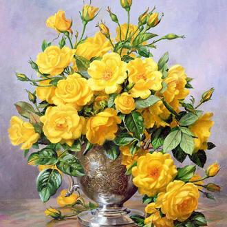Картина-раскраска Mariposa Желтые розы в серебряной вазе Худ Уильямс Альберт  40 х 50 см