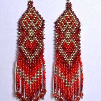 длинные серьги из бисера с бахромой