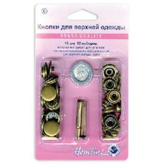 Кнопки для курток с инструментом для установки 15мм старая бронза 12шт