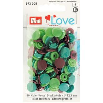 Кнопки Color Snaps PrymLove, зеленый/коричневый цв., 12мм, Prym