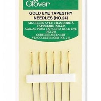 Иглы для вышивания с золотым ушком р.24,Clover, Япония
