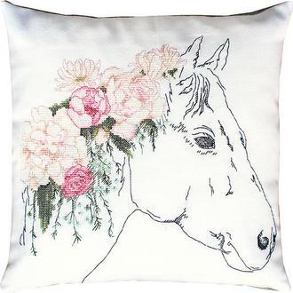 """Набор для вышивки подушки """"Лошадь в розах"""""""