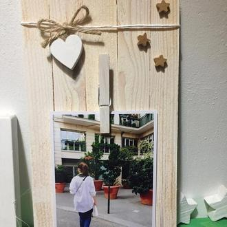 Рамочка из сосновых планок с деревянным сердечком