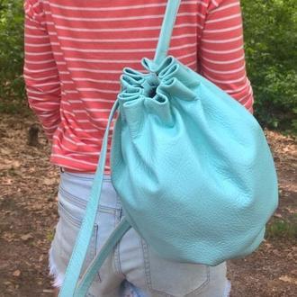 Рюкзак кожаный светло-голубой