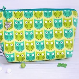 Косметичка Совушки зеленіе