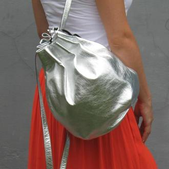 Рюкзак серебряный кожаный
