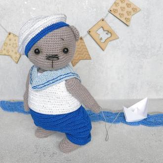 "Вязаный крючком мишка-тедди ""Морячок"""