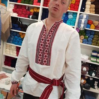 Вышиванка ручной работы льняная славянская черно-красная