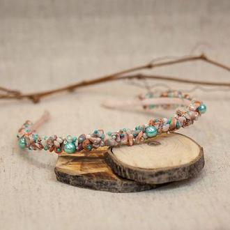 Ободок из натуральных камней яшма с бирюзовыми бусинами