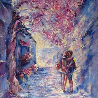 Картина маслом на холсте Воспоминание о Санторини