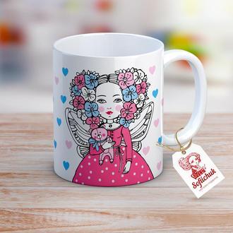 Дизайнерская чашка с текстом в подарок, день рождения -  Цветочная Фея