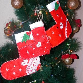 Рождественский именной сапожок (варежка) из фетра