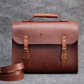 Brown briefcase. Мужской кожаный портфель