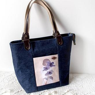 Джинсовая сумка-тоут Девушка с цветами