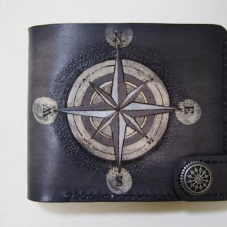 Кожаный кошелек Роза ветров (под заказ)