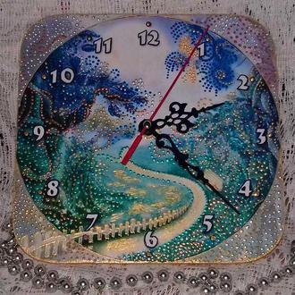 Часы- панно,точечная роспись