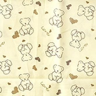Ткань св.бежевая 50х50 см Мишки коричневые