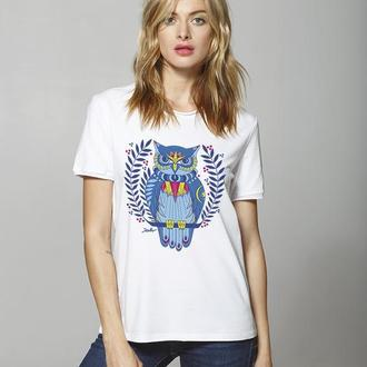 Белая женская футболка с совой