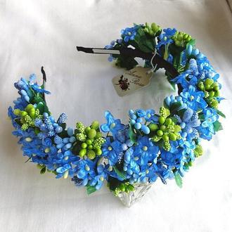 Обруч с цветами для волос «Незабудки Голубые»
