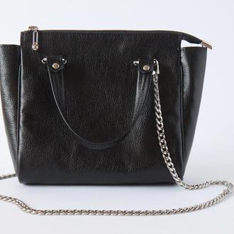 Стильная кожаная сумка с цепочкой