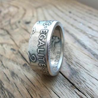 Кольцо из монеты 2 франка Франции Серебро