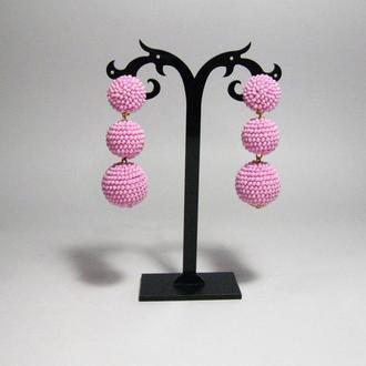 Розовые серьги бон бон из бисерных шариков (1-3 шарика, 40 цветов)