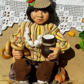 Домовёнок Мишка - интерьерная кукла.